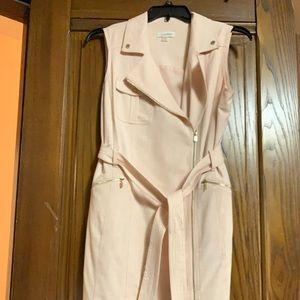 Calvin Klein moto zip belted sheath dress